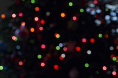 Dots on Black (brucetopher) Tags: christmas lights lighting holiday bokeh festive newyear happynewyear black colorful catchycolors rgb red green blue purple pink dot dots christmaslights beauty mesmerising hypnotic colour