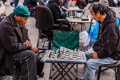 People of New York - The Gamers (Culinary Fool) Tags: square october manhattan gramercy unionsquare newyork 2470mm28 ny bw culinaryfool games 2010 brendajpederson men crowd chess farmersmarket