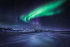 Vik Aurora (Mark McLeod 80) Tags: 2016 iceland markmcleod markmcleodphotography ice winter aurora frozen lake auroraborealis