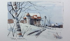 Winter Barn sketch with two colors (Peter Sheeler) Tags: penandink painting simple wash easy draw tutorial howto help tips tricks beginner watercolour watercolor penandwash lineandwash drawing peter sheeler fun quick sketch sheelerart englishsubtitles shadows urbansketch waterbrush lamy higgins pigma twsbi winter farm barn snow