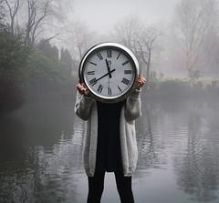 1/52 (Cara Steed) Tags: lake portrait park clock nature fog
