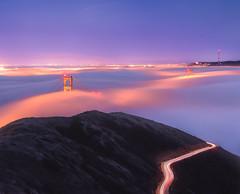 Golden Gate Bridge in the Fog (Cyril Bornette Photography) Tags: lights california lighttrails landscape bridge longexposure sanfrancisco nightphotography fog sf goldengatebridge night bayarea waikoloavillage hawaii unitedstates us