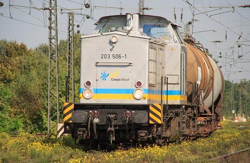 07.09.2005 Duisburg Abz Ruhrtal. Campa-diesel 203 506 mit Kesel Abz Lotharstrasse