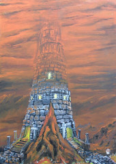 Unending Tower (RedRoofArt) Tags: fantasy art acryl painting panel scify tower red foggy