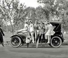 Swimming ladies (kevin63) Tags: lightner photo blackandwhite women 1920s twenties swimsuits fun car river icy winter flapper