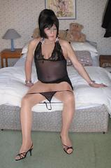 Amyblaneg-001 (fionaxxcd) Tags: crossdresser crossdressing xdressing m2f mtf transvestite trannie tranny breasts bust tatoo pinknails stilettos blackteddy highheels thong redlipstick bangles sandals