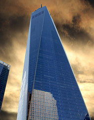 One World Trade Center (Apollo51x) Tags: city nyc observation tourism traveler manhattan wtc building entrance memorial landmark mirror site american history highrise historic skyline blue complex newyork freedom tower skyscraper urban attraction architecture 1wtc patriotic observatory