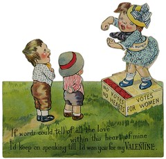 Votes for Women Valentine—No Votes, No Hearts (Alan Mays) Tags: ephemera greetingcards greetings cards valentines politicalephemera paper printed valentinesday saintvalentinesday february14 holidays hearts women suffragettes suffrage votes voting votingrights politicalfranchise franchise righttovote soapboxes boxes speakers speeches political politics men children girls boys love clothes clothing dresses hats sashes red green blue poems poetry rhymes diecuts illustrations humor humorous funny 1910s old vintage typefaces type typography fonts