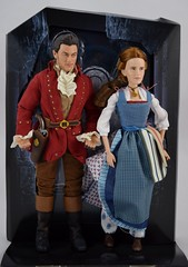 Film Collection Belle and Gaston Doll Set - Live Action Beauty and the Beast - Disney Store Purchase - Deboxing - On Backing - Full Front View (drj1828) Tags: us disneystore beautyandthebeast liveactionfilm 2017 belle gaston disneyfilmcollection 12inch posable dollset blue peasant dress deboxing