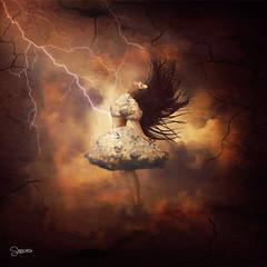 Dancing with Clouds (SnowiesArt) Tags: dark art girl dancing clouds storm lightning elements digitalart digitalmanipulation surreal fantasy fairytale photoart fineart darkart