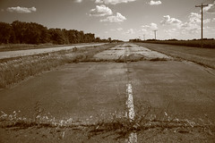 Abandoned Route 66 (Frank Footer Fotos) Tags: road trip travel trees vacation two sky usa white black west art classic dusty wall sepia clouds rural america vintage landscape concrete outdoors photography freedom countryside town illinois highway midwest pavement framed small country rustic fine mother murals roadtrip 66 historic retro il adventure route nostalgia lane posters buy fields prints americana kicks farms motor roadside asphalt rt gravel attractions blacktop