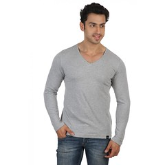 Grey Melange Slim V Neck-Full Sleeve