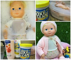 Bath Time for Beth (Foxy Belle) Tags: pink blue baby set price vintage sweater eyes doll legs body beth vinyl foam blonde fisher 1978 1970s
