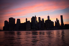 Sunset (Miqqu.-) Tags: world new york nyc blue sunset usa ny newyork del america atardecer agua manhattan dumbo center hora reflejo trade nueva norte brookyn estados magica unidos
