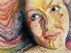 Rainbow World Girl (Artistic Flow) Tags: art sepia portraits watercolor artwork colorful pretty artist originalart mixedmedia contemporaryart colorfull sketching sketches funart portraitartist artonpaper pretties portraitart uniqueart