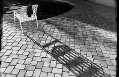 Projection (MPnormaleye) Tags: sunset bw abstract water pool tile chair shadows bricks utata tw:project=tw481