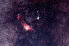 M8 & M20 - Trifid & Lagoon Nebula (guillaume_lhoste) Tags: sky canon star space deep lagoon astro galaxy nebula astrophotography 7d m8 astronomy galaxies messier espace galaxie cls m20 astronomie lagon dso trifid deepsky nébuleuse trifide astrotrac astrometrydotnet:status=solved astronomik astrodon astrometrydotnet:id=nova1195191