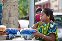 Street portrait (Arun Ramanan) Tags: portrait nikon madras streetportrait photowalk activity chennai flowerseller mylapore d7000 frontoftemple nikond7000 madhavaperumaltemple