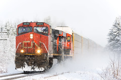 CN 401 @ Saint-Janvier-de-Joly, QC (Mathieu Tremblay) Tags: joly québec canada saintjanvierdejoly cn canadian canadien national railway railroad chemin fer train 401 snow neige ge general electric 2630 c449w