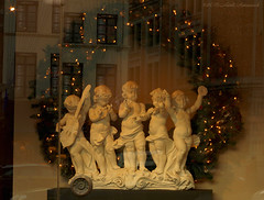 Happy New Year to my Flicker Friends!!! (Natali Antonovich) Tags: sculpture antiques sweetbrussels brussels sablon dezavel art christmasholidays christmas shopwindow reflection window tradition decor vigorousitems belgium belgique belgie winter