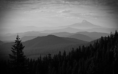 "Smokey Shasta (E.R.M .""Give Peace a Chance"") Tags: blackandwhite monochrome outdoor serene sky clouds field mountain landscape foothills mtshasta shasta volcano haze smoke wildfire forestfire california layers"