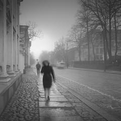 Unioninkatu (Vesa Pihanurmi) Tags: street streetphotography movement longexposure figure character woman walk helsinki unioninkatu metaphysical metaphysics foggy blackandwhite monochrome cityscape grey