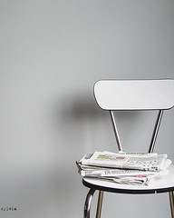 Folded (Sylvia Houben) Tags: folded newspapers kitchenchair sixties