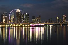 Stars at the bay (elenaleong) Tags: 12100 marinabarrage singaporeflyer elenaleong sundown cityscape