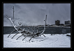 Solfar Sun Voyager Sculpture Reykjavik (jdl1963) Tags: solfar sun voyager sculpture reykjavik iceland snow city viking ship boat art water harbour