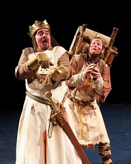 """Gary Beach (left) as King Arthur and Andy Taylor as Patsy in the 2010 Music Circus premiere of the Tony Award-winning Best Musical """"Monty Python's Spamalot"""" at the Wells Fargo Pavilion, July 9-18.  Photo by Charr Crail."""