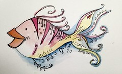 Dangled Fishie (fatcatproject) Tags: fish pen ink watercolor zen zentangle