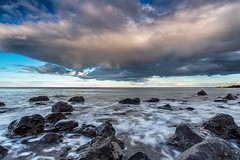 on the rocks (Steven Peachey) Tags: light sunset sea sky seascape beach water clouds canon coast rocks exposure wideangle filters manfrotto seaham northeastcoast ef1740mmf4l lee09gnd leefilters canon6d lee06gnd seahamchemicalbeach hawkdog