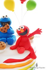 Elmo (Little Cottage Cupcakes) Tags: birthday cake balloons rainbow elmo sesamestreet cookiemonster fondant sugarpaste boycake littlecottagecupcakes furchesterhotel