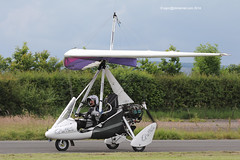 G-CDKK - 2005 build Mainair Sports Pegasus Quik, arriving at Eshott for the 2014 Great North Fly-in (egcc) Tags: pegasus knight microlight quik 2014 weightshift greatnorth flexwing flyuk 8097 eshott rotax912 mainairsports gcdkk