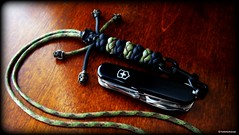 Paracord neck lanyard and SAK (Stormdrane) Tags: wood camping black make metal pen cord diy bottle fishing wire key pin sailing hiking zombie military phillips apocalypse knife tie craft file can rope knot hobby philips line camo scissors backpacking toothpick howto boating string blade stripper pocket edc standard corkscrew folder weave survival minidriver braid magnifier scouting opener everydaycarry tweezers 550 lanyard paracord beprepared splitring stormdrane swissbianco schmuckatellico minivinniegarooncowboybeads