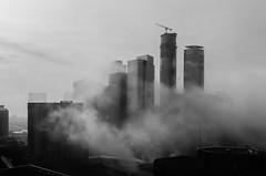 The City In The Clouds (Michael Muraz) Tags: world ca city morning bw cloud toronto ontario canada building monochrome fog skyscraper sunrise town blackwhite construction downtown cityscape financialdistrict northamerica on 2014 deltahotel southcore deltatoronto ïcecondominiums