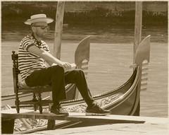venice (gerben more) Tags: venice venetië gondolier handsomeman hat water gondol italy canal sunglasses sepia