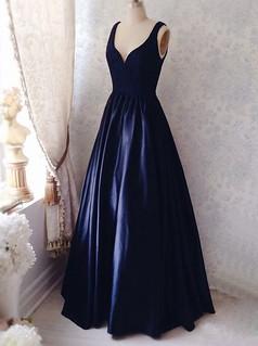 Simple V-neck Sleeveless Floor-Length Ruched Navy Blue Prom Dress