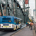 TriMet Line 4-Division/Fessenden bus and bikes on Hawthorne Bridge