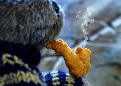 Smokey the Bear . . . (JLS Photography - Alaska) Tags: silly bear teddybear smoke smokeythebear jlsphotographyalaska closeup macro pipe depthoffield outdoor animal bokeh