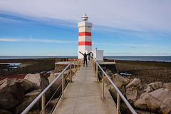 Cass at Grindavik Lighthouse (joshuadavidreid) Tags: grindavik iceland lighthouse stripes cassandrabray