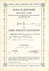 CASSA DI RISPARMIO IN SANTELPIDIO A MARE (scripofilia) Tags: 1879 azioni cassa cassadirisparmioinsantelpidioamare mare risparmio santelpidio