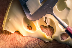 Say Cheese (PHEricPH) Tags: wood holes macro macromondays cheese slicer saycheese