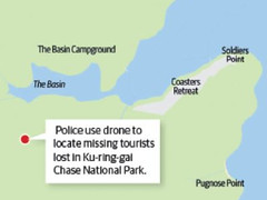Tourists rescued at Ku-ring-gai Chase National Park after flashing a torch at drone (servercookie) Tags: kuringgai chase national park