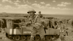 Monty Brigade (sepia) (WesternOutlaw) Tags: deathrace tunisia valentine hector churchill montgomery 130 monty toysoldiers rommel kingcountry panzer armymen dak elalamein desertfox afrikakorps 25pounder kingandcountry britishtank panzerarmyafrica wwiitank valentinetank militarydioramas 130scale 7thpanzerdivision armygroupafrica stateofdivision afrikakorpsdiorama valentinemkiii