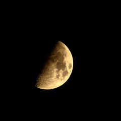 First Quarter Moon 6-24-15 (theeqwlzr) Tags: sky moon monochrome beautiful blackbackground night nightlights luna astrophotography nightsky southerncalifornia minimalism lunar firstquartermoon canonrebelxti sandimascalifornia