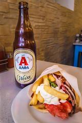 Number 11 and an Alpha Beer (Travis D. Kinney) Tags: beer gyros greece alpha mykonos sakis