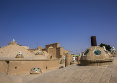 Sultan Amir Ahmad Bathhouse Roof And Terrace, Isfahan Province, Kashan, Iran (Eric Lafforgue) Tags: roof detail building glass horizontal architecture buildings outdoors photography asia iran details persia bluesky nobody nopeople roofs covered dome iranian copyspace orient domes kashan kachan إيران иран colourimage イラン irão isfahanprovince 伊朗 이란 iran150734