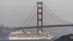 Golden Gate Brigde dwarfing Coral Princess (Bo Gaarde) Tags: ocean bridge cruise water golden bay gate san ship pacific pacificocean goldengatebridge cruiseship bayarea fransisco coralprincess dwarfing
