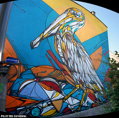 Mechelen Muurt (Red Cathedral [FB theRealRedCathedral ]) Tags: summer streetart bird art graffiti sony mechelen pelikaan malines dzia eventcoverage a6000 lekkernijstraatje mechelenmuurt